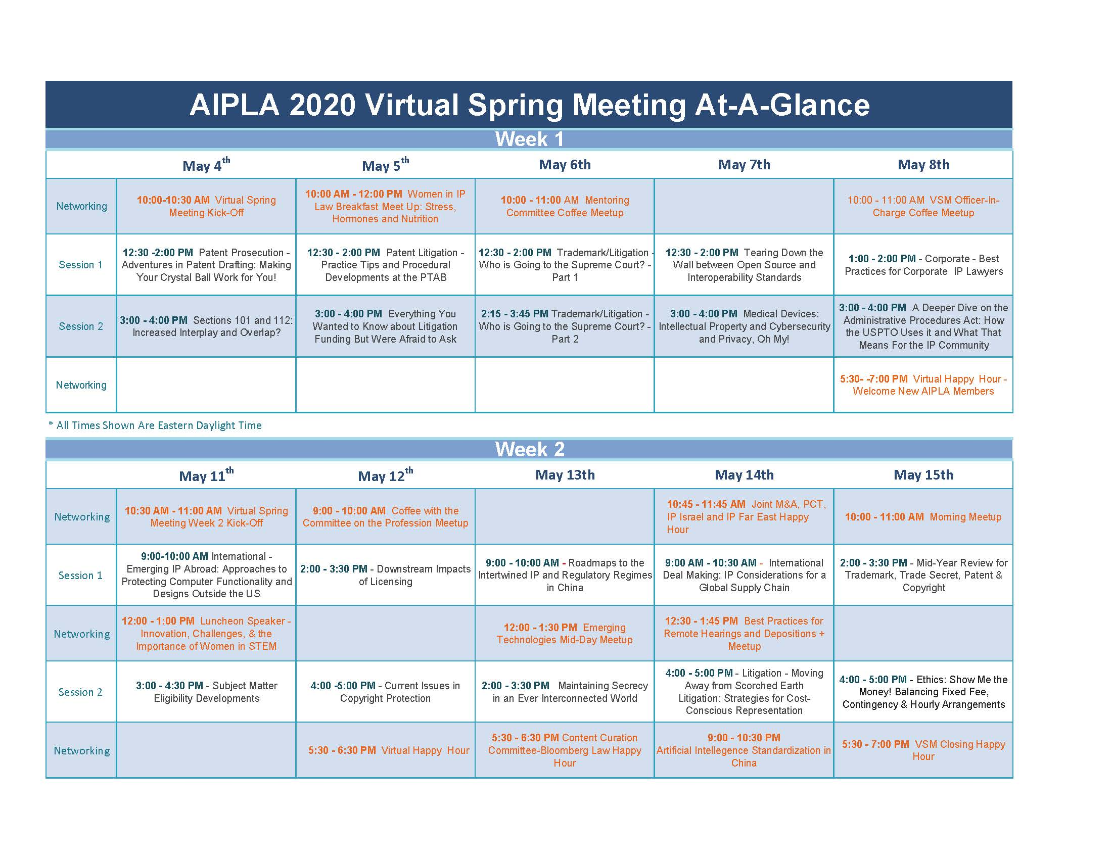 Virtual Spring Meeting At a Glance